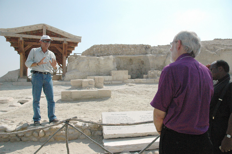 Bishop Mark Hanson, ELCA presiding bishop and Lutheran World Federation (LWF) president, right, listen to a tour guide at a recently excavated site which is said to be the baptismal site of Jesus.  The site is located on the east side of the Jordan River.  Hanson and LWF leaders visited the site Aug. 30, as they traveled into Israel by car following a visit to Jordan. The leaders were on their way to the LWF Council meeting Aug. 31-Sept. 6 in Bethlehem.