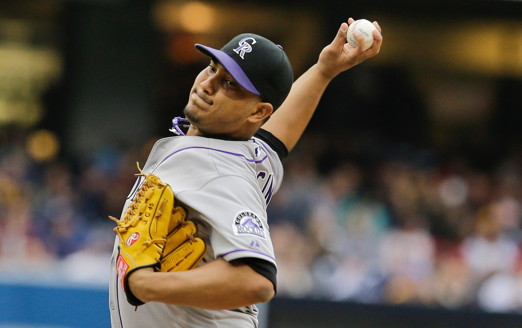 . Colorado Rockies starting pitcher Jhoulys Chacin throws against the San Diego Padres in a baseball game on Saturday April 13, 2013, in San Diego. (AP photo/Lenny Ignelzi)