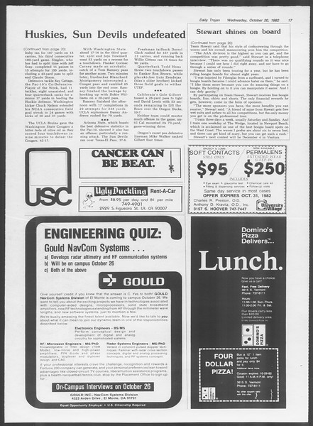 Daily Trojan, Vol. 92, No. 31, October 20, 1982