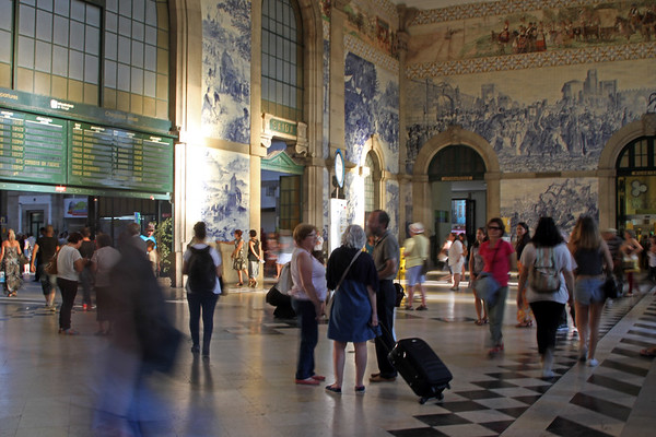 The entrance to São Bento train station in Porto, Portugal