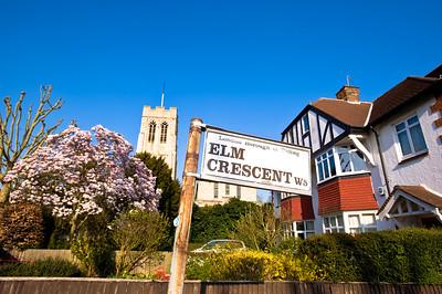Church and house in Ealing, W5, London, United Kingdom