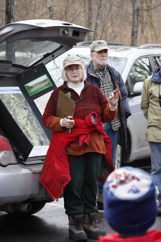 Rona Balco, founder of Friends of the Oxbow, and her husband John address a group at the annual Harvard Conservation Trust New Year's Day walk, which was held at the Oxbow this year. (Photo by Tyler Papazian)