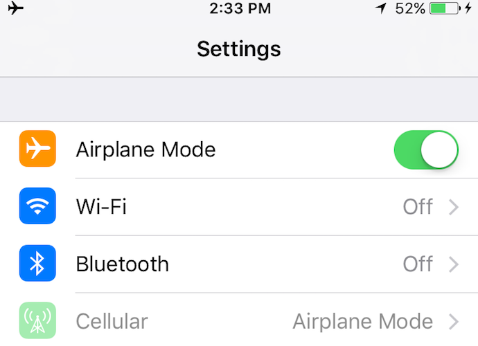 iphone 6s airplane mode