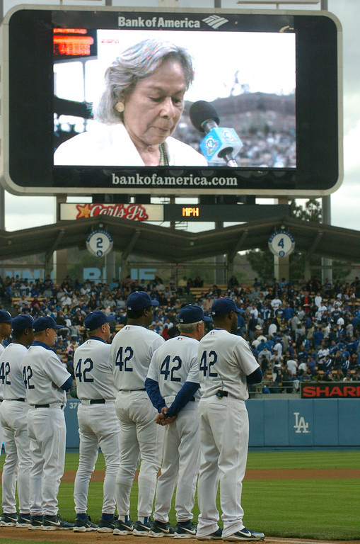 . Dodger players all wear #42 on their jerseys in honor of Jackie Robinson while Jackie\'s widow, Rachel Robinson, speaks to the crowd and is shown on the jumbotron at Dodger Stadium against the San Diego Padres, Sunday April 15, 2007. (Michael Owen Baker/Los Angeles Daily News)