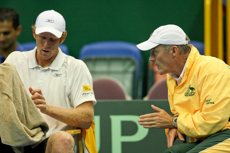 11 April 2008 Townsville, Qld, Australia - Australia's Chris Guccione and Thailand's Danai Udomchoke met in the first singles rubber at their Davis Cup in Townsville.  Australian captain John Fitzgerald talks tactics with Chris Guccione - Photo: Cameron Laird (Ph: 0418 238811)