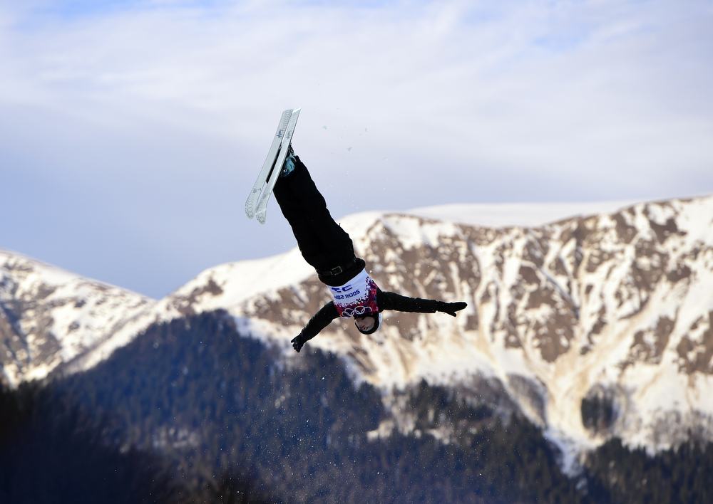 . Ukraine\'s Anastasiya Novosad competes in the Women\'s Freestyle Skiing Aerials Qualifications at the Rosa Khutor Extreme Park during the Sochi Winter Olympics on February 14, 2014.  (JAVIER SORIANO/AFP/Getty Images)