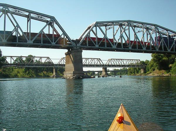 Three bridges, freight, light rail, then cars.