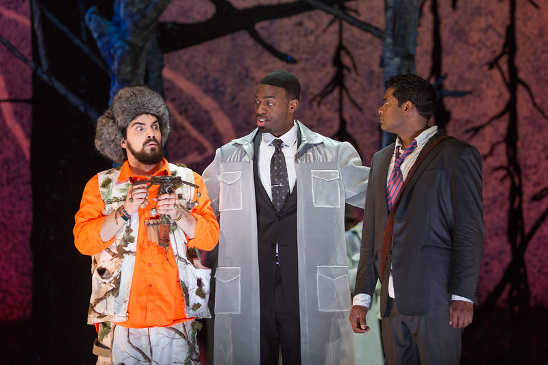 "Ben Edquist as Papageno, Soloman Howard as Sarastro and Sean Panikkar as Tamino in The Glimmerglass Festival's 2015 production of Mozart's ""The Magic Flute."" Photo: Karli Cadel/The Glimmerglass Festival"