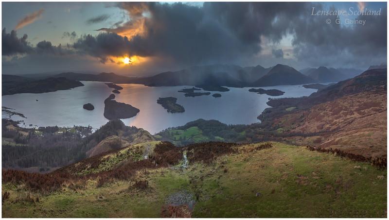 Loch Lomond winter sunset from Conic Hill