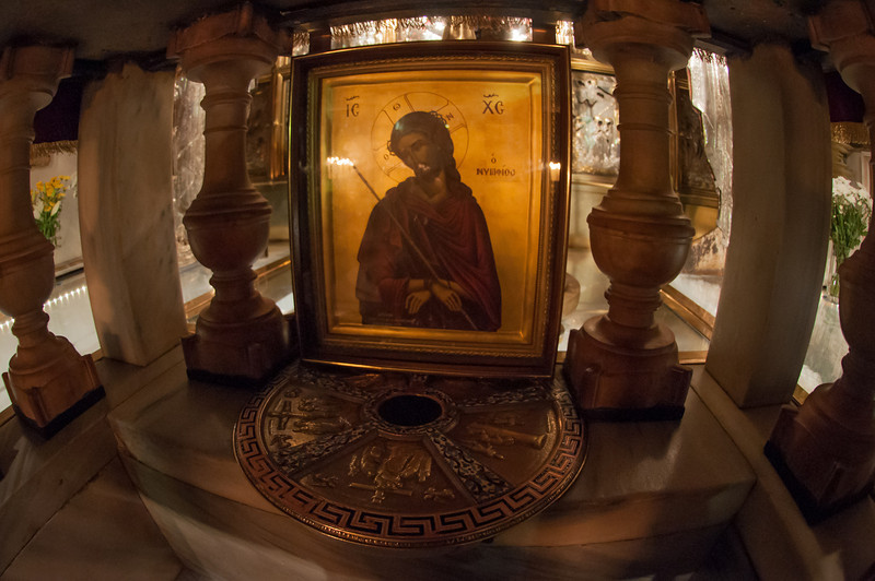 Inside the Church of the Holy Sepulchre in historic Jerusalem, Israel. This is believed to be the location of the cross upon which Jesus was crucified.