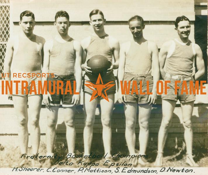 BASKETBALL Fraternity Champions  Delta Kappa Epsilon  H. Shearer, C. Conner, P. Mattison, S. Edmundson, D. Newton
