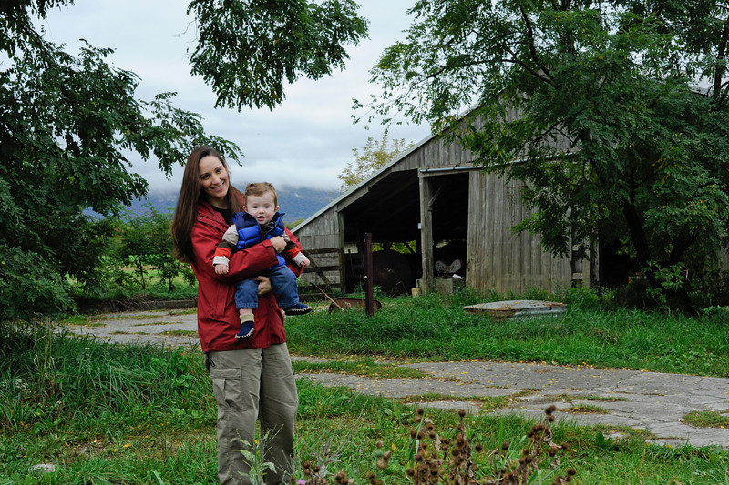 Jack and Mom explore an old barn in Shaftsbury, VT.