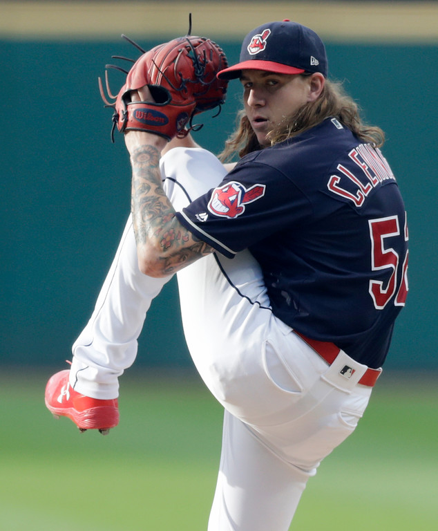 . Cleveland Indians starting pitcher Mike Clevinger delivers in the first inning of a baseball game against the Chicago White Sox, Tuesday, June 19, 2018, in Cleveland. (AP Photo/Tony Dejak)
