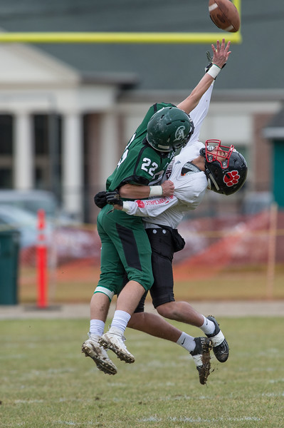Abington's Brendan O'Brien (22)  breaks up a pass intended for Whitman Hansons John Zeidan (6) in the 109th Thanksgiving Day meeting between Abington and Whitman-Hanson  at Abingtons Frolio Field on 11/28/19 [Courtesy Photo/Bill Marquardt]