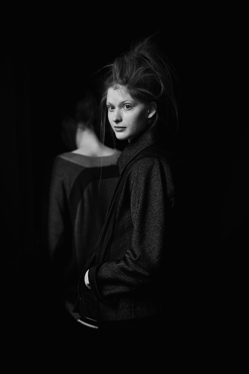 Description of . A model backstage before the Issey Miyake Fall/Winter 2013 Ready-to-Wear show as part of Paris Fashion Week on March 1, 2013 in Paris, France.  (Photo by Gareth Cattermole/Getty Images)