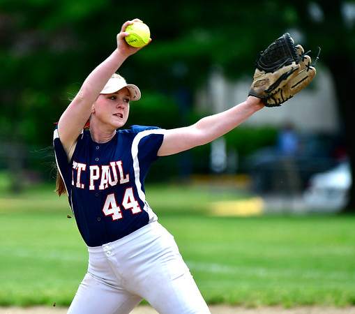5/29/2019 Mike Orazzi | Staff St. Paul's Abby Poirot (44) during Wednesday's Class S First Round softball game in Bristol.
