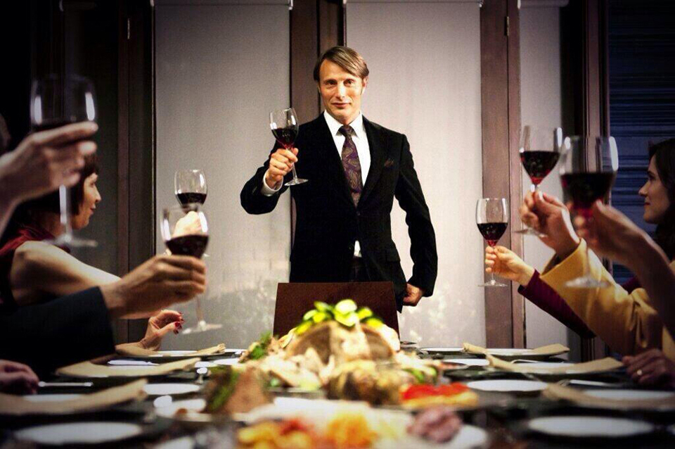 Description of . Hannibal Lecter (Mads Mikkelsen) hosts a dinner party, but what is he serving his guests? Photo: NBC