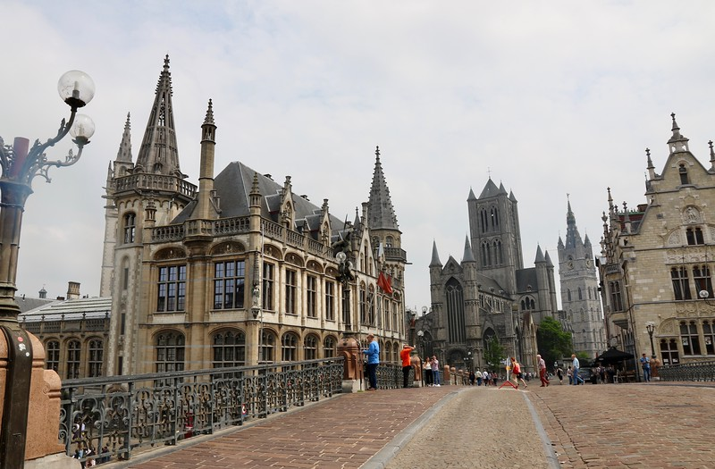 """On St. Michael's Bridge with the """"3 Spires of Ghent"""" - St. Nicholas' Church (left), Belfry (center) and St. Bavo Cathedral (right)"""