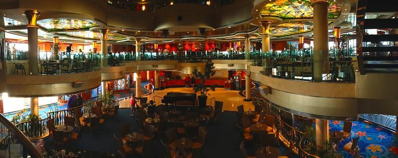 Norwegian Dawn - Grand Atrium below and Blue Lagoon bar/lounge above