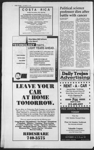 Daily Trojan, Vol. 132, No. 30, October 10, 1997