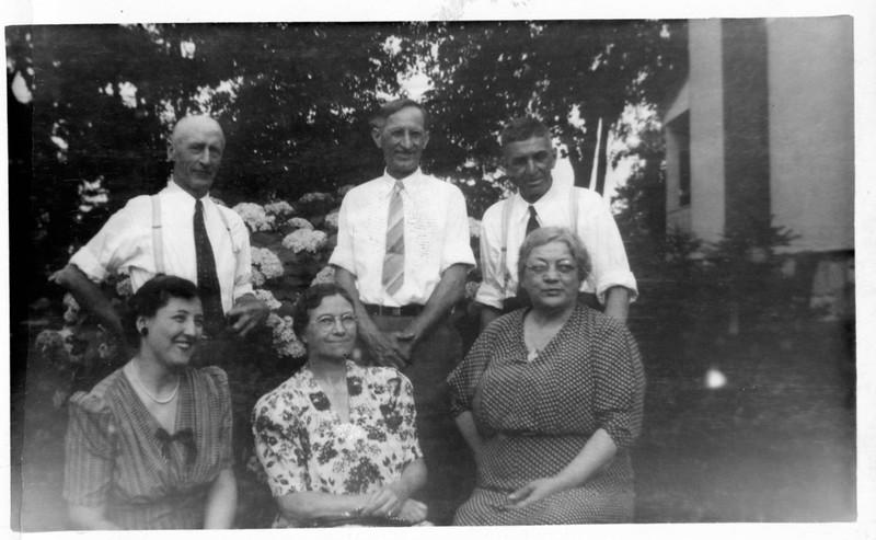 """Uncle Frank, Dad Jansen, Uncle Charley, Honey, Mother Jansen, Aunt Bertha"