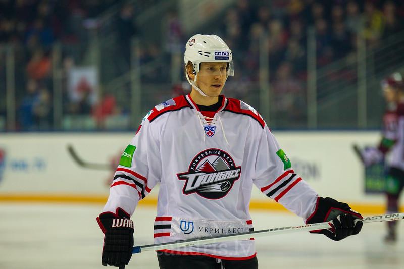 Oskars Bartulis (7) during KHL regular championship game between Dinamo Riga and Donbass Donetsk in Arena Riga