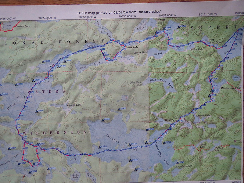 This is the loop that we made in the Boundary Waters Canoe Area Wilderness last weekend. 1/10 to 13/2014. The trip was organized and lead by Patrick Elliott. There was three of us Patrick and David and myself Jim. We had a fantastic time as we arrived just when the polar vortex cleared the area. So we had temperatures in the teens and 20s but overcast the whole time. We were back there four days and three nights. Each number on this map represents one 10th of a mile. We covered 12 to 13 miles pulling sleds with our camping gear.