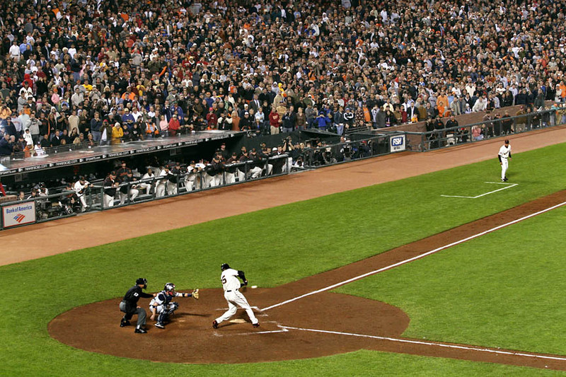 Barry Bonds connects for his record-setting 756th homerun, a fifth inning solo shot, hit in a night game at AT&T Park against Washington Nationals pitcher Mike Bacsik in San Francisco, CA, on 8/7/07.  Reuters/Dino Vournas