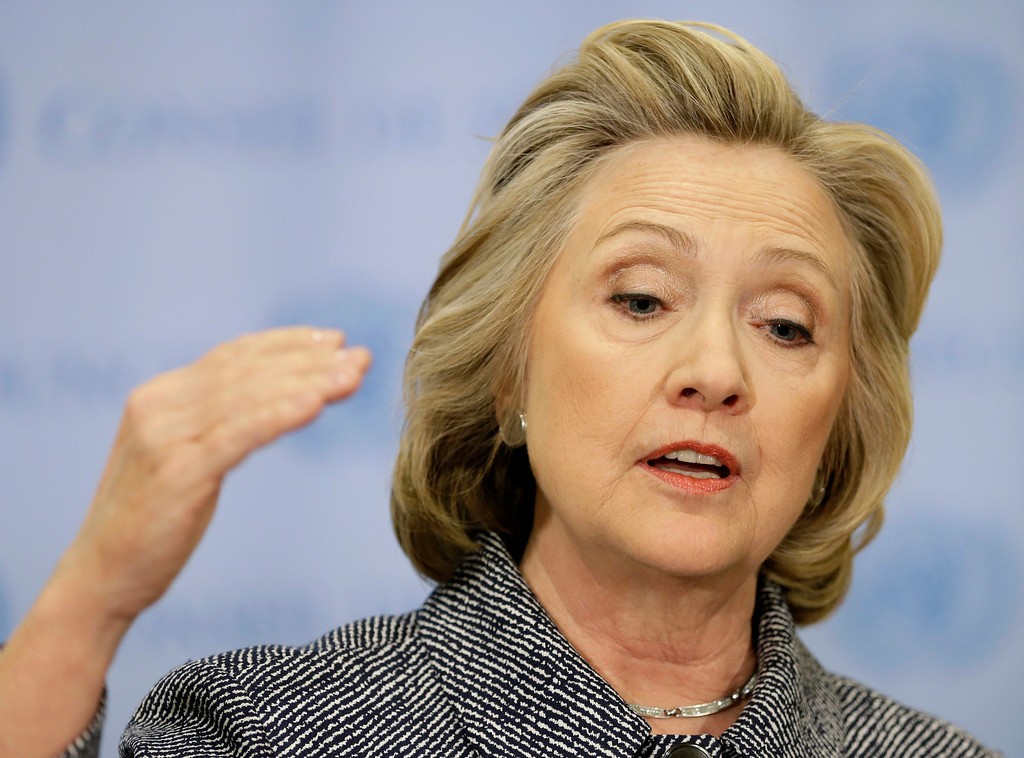 ". Hillary Rodham Clinton speaks to the reporters at United Nations headquarters, Tuesday, March 10, 2015.  Clinton conceded that she should have used a government email to conduct business as secretary of state, saying her decision was simply a matter of ""convenience.\""  (AP Photo/Seth Wenig)"