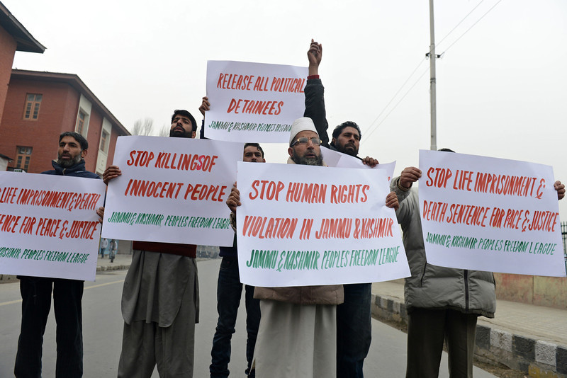 . Jammu and Kashmir Freedom League (JKPFL) activists shout anti-India slogans during a strike held on World Human Rights Day in Srinagar on December 10, 2012. The strike has been called in protest against a court verdict sentencing two Kashmiris to life imprisonment in Srinagar. At least 47,000 people have died as a result of the insurgency in highly militarised Indian Kashmir, according to official count with seperatists putting the toll twice as high.  TAUSEEF MUSTAFA/AFP/Getty Images