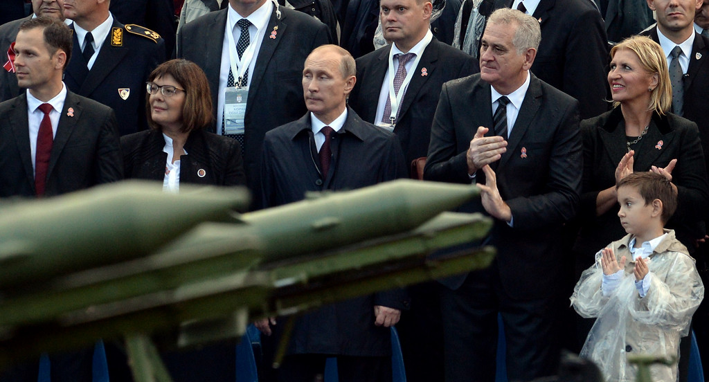 . Russian President Vladimir Putin (c) and his Serbian counterpart Tomislav Nikolic (3rd R) watch a military parade in the Serbian capital Belgrade, on October 16, 2014 in Belgrade.  VASILY MAXIMOV/AFP/Getty Images