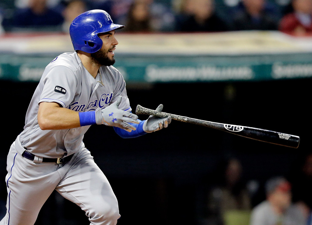 . Kansas City Royals\' Eric Hosmer bats against the Cleveland Indians in the eighth inning of a baseball game, Friday, May 26, 2017, in Cleveland. Hosmer reached first base on an error by Indians\' Francisco Lindor. (AP Photo/Tony Dejak)