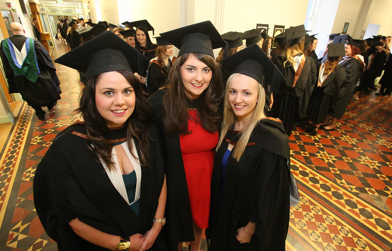 Waterford Institute Of Technology Conferring. Pictured at WIT Waterford Institute Of Technology Conferring are Marie McSweeney, Cork, Nicola Murphy, Waterford and Carol Murohy, Ennis, Co Clare who graduated Bachelor of Science (Honours) in Nursing. Picture: Patrick Browne