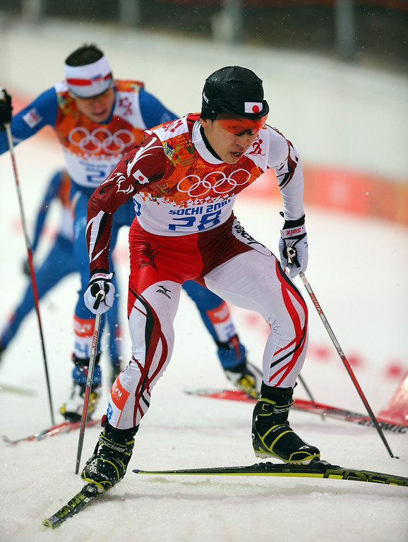 . Hideaki Nagai of Japan competes during the Nordic Combined Men\'s 10km Cross Country on day 10 of the Sochi 2014 Winter Olympics at RusSki Gorki Jumping Center on February 18, 2014 in Sochi, Russia.  (Photo by Robert Cianflone/Getty Images)