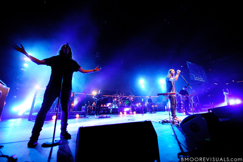 "Jonathon ""J.D."" Douglass and Joel Houston of Hillsong United perform in front of a sold out crowd on August 5, 2011 at St. Pete Times Forum in Tampa, Florida"