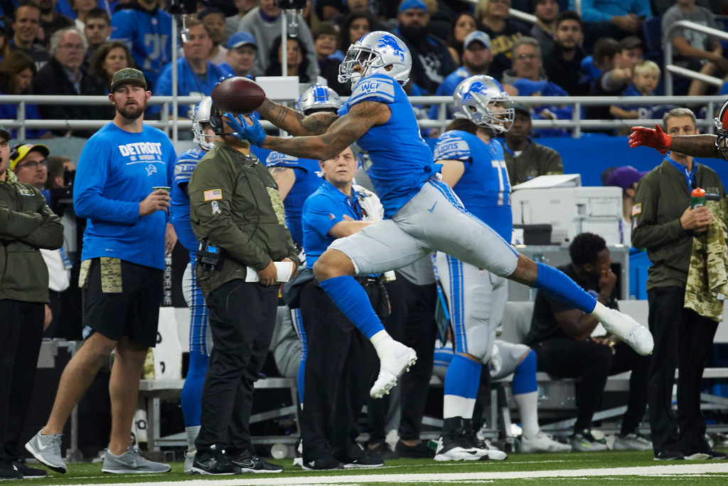 . Detroit Lions wide receiver Kenny Golladay (19) makes a reception against the Cleveland Browns during an NFL football game, Sunday, Nov. 12, 2017, in Detroit. (AP Photo/Rick Osentoski)
