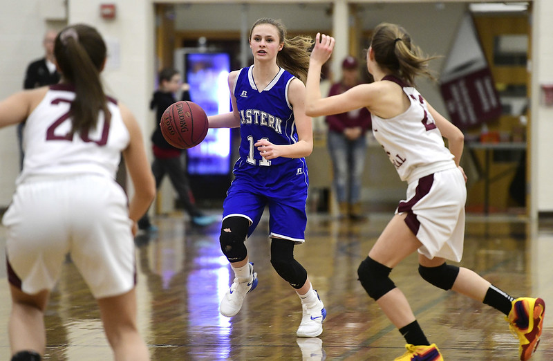 1/17/2019 Mike Orazzi | Staff Bristol Eastern's Ciara Collins (11) during Thursday night's girls basketball game with Bristol Central at BC.