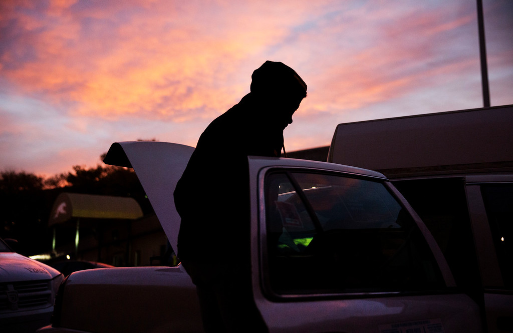 . Khalil Holand gets into a taxi after arriving on a bus from Raleigh, N.C., to spend the Thanksgiving holiday in Atlanta, Wednesday, Nov. 23, 2016. Almost 49 million people are expected to travel 50 miles or more for the holiday, the most since 2007, according to AAA. (AP Photo/David Goldman)