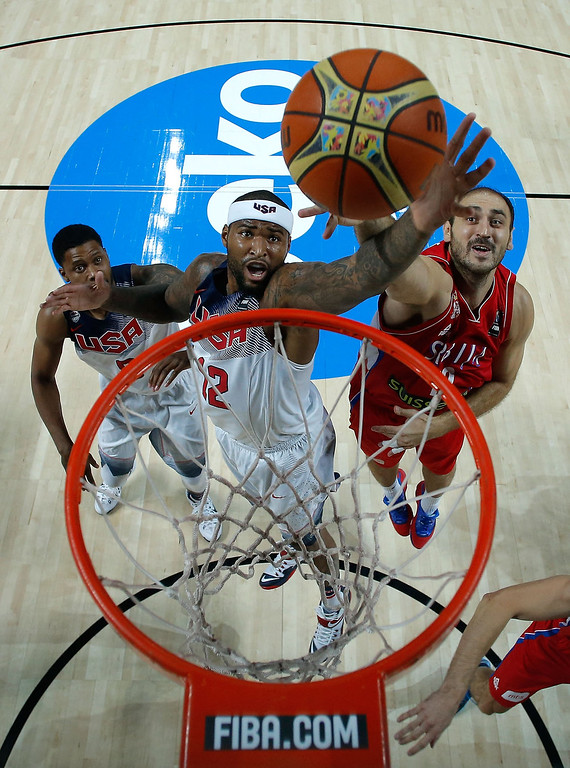 . DeMarcus Cousins (2ndL) of the USA competes for the rebound with Nenad Krstic (R) of Serbia during the 2014 FIBA World Basketball Championship final match between USA and Serbia at Palacio de los Deportes on September 14, 2014 in Madrid, Spain. (Photo by Gonzalo Arroyo Moreno/Getty Images)
