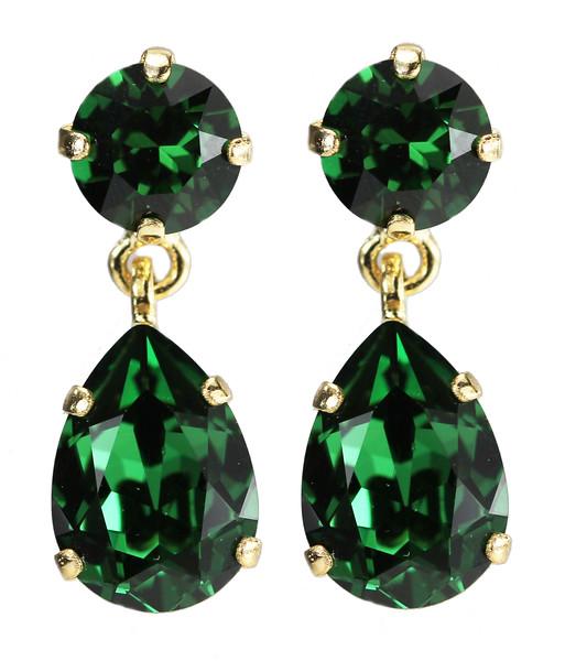 Mini Drop Earrings / Dark Moss Green