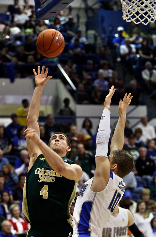 . Colorado State\'s Pierce Hornung , left, shoots as Air Force\'s Todd Fletcher, right, goes up for a block during the first half of an NCAA college basketball game in Air Force Academy, Colo., Saturday Feb. 16, 2013. Colorado State won 89-86. (AP Photo/Brennan Linsley)