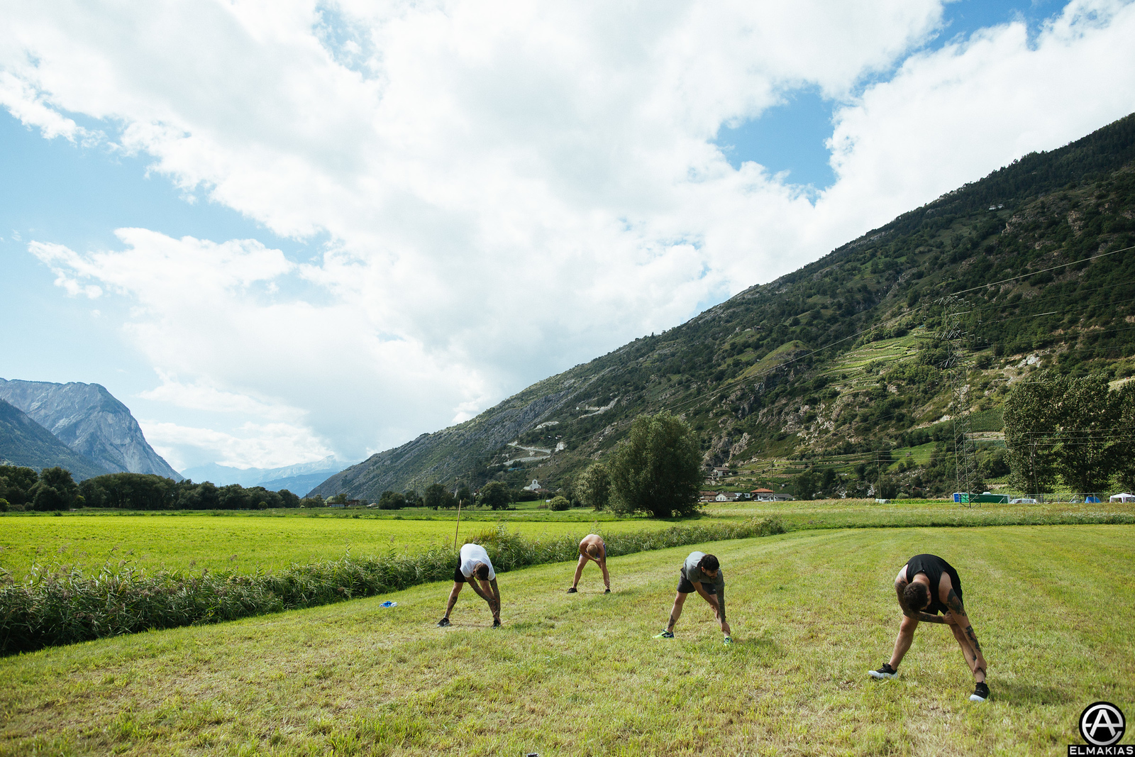 Insanity workout by the venue, in the Swiss Alps