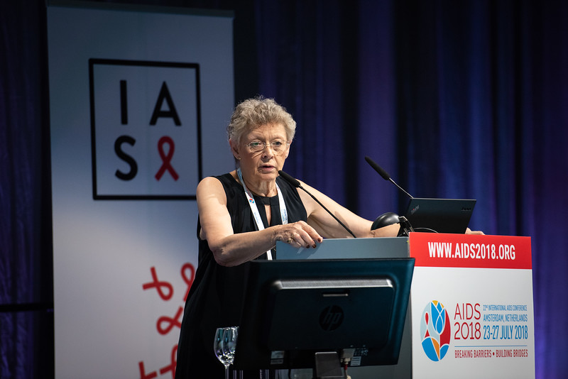 22nd International AIDS Conference (AIDS 2018) Amsterdam, Netherlands.   Copyright: Steve Forrest/Workers' Photos/ IAS  Photo shows: Francoise Barré-Sinoussi, during the IAS Members' Meeting.