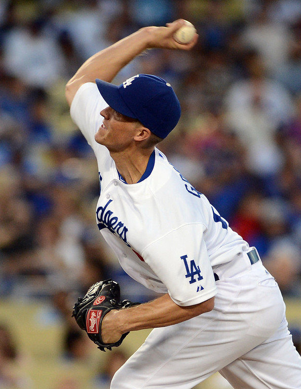 . Dodgers pitcher Zack Greinke #21 during their game against the Rockies at Dodgers Stadium Saturday, September 28, 2013. (Photo by Hans Gutknecht/Los Angeles Daily News)