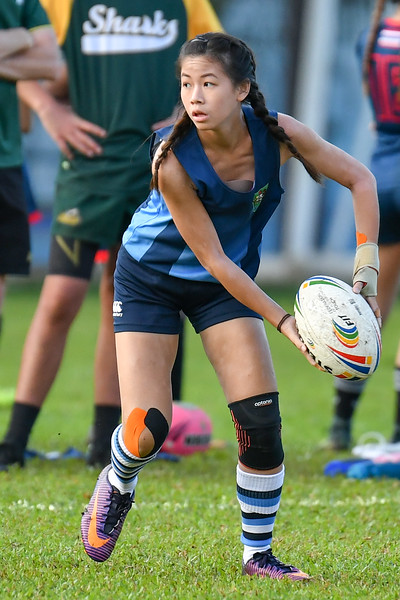 Garden International School in action against Australian International School Singapore in the Plate Final of the SEASAC Girls Touch Rugby Tournament, Alice Smith School, Kuala Lumpur 4th February 2018. Photo by Tom Kirkwood/SportDXB