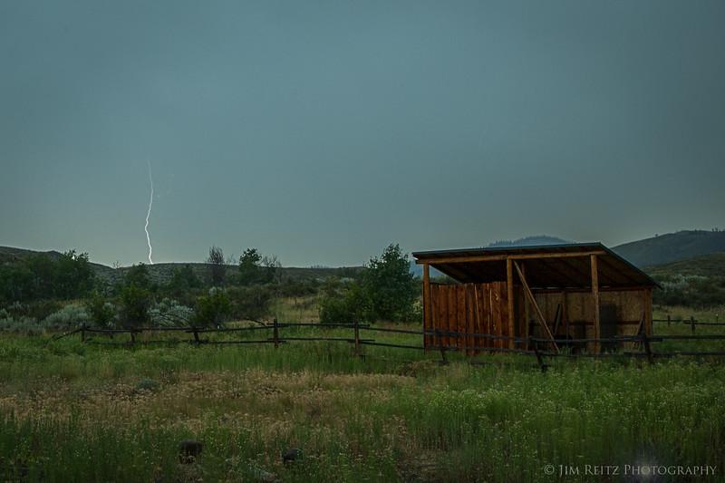 Lightning strike behind our cabin