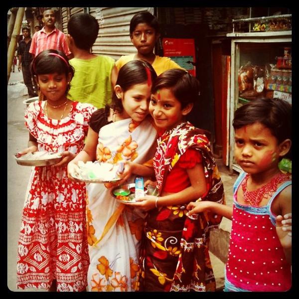 Girls all decked out for Holi - Dhaka, Bangladesh
