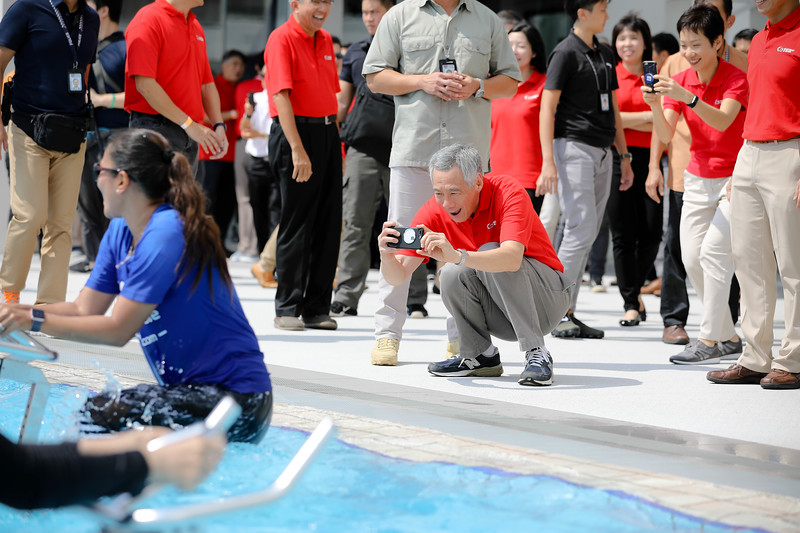 PM Lee visitng Residents during aqua exercises at Active Health Lab Launch, taken on 4th Feb 2018 at Heartbeat@Bedok, Singapore. Photo by Sanketa Anand/SportSG