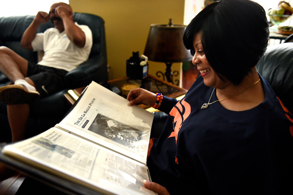 . ANTIOCH, CA - FEBRUARY 03: LaNeita Ward mother of Denver Broncos strong safety T.J. Ward (43) going through a scrap book of his high school career at her home in Antioch, CA. February 03, 2016 (Photo by Joe Amon/The Denver Post)
