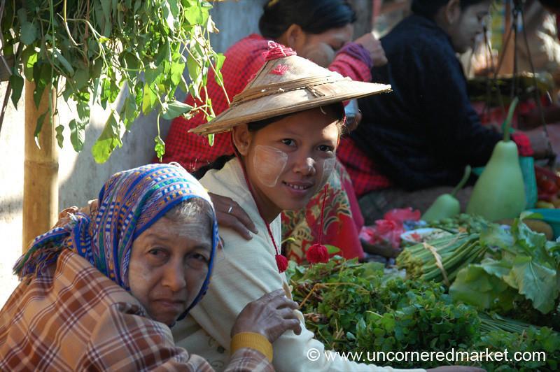 Burmese Mother and Daughter at Toungoo Market - Burma